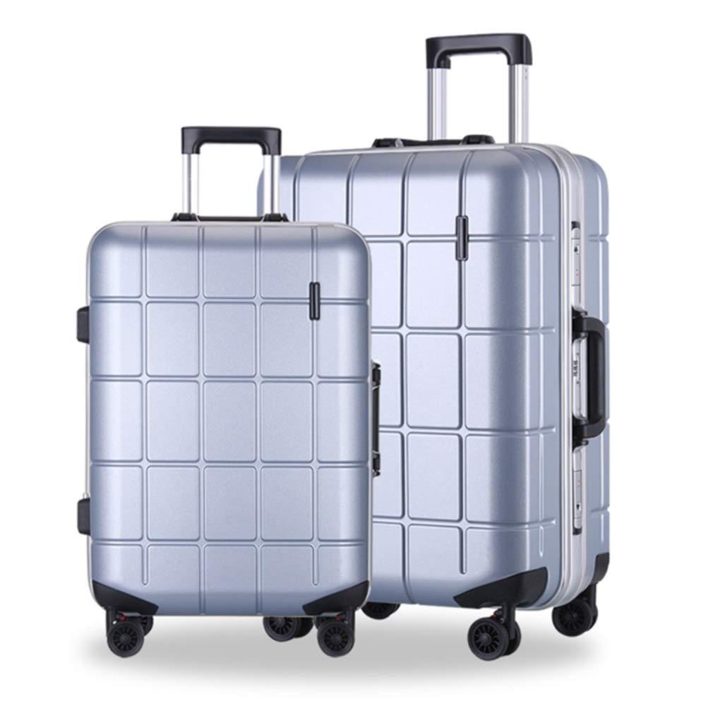 サイレントスーツケース ラティスデザイントラベル荷物トロリーケース20インチ24インチハードシェル2ピーススピナー荷物入れ子セットキャリーオンアップライトスーツケース360°サイレントスピナー多方向ホイール飛行機フライトチェックイン (色 : 銀, サイズ : 20in+24in) B07SMSHLMG 銀 20in+24in