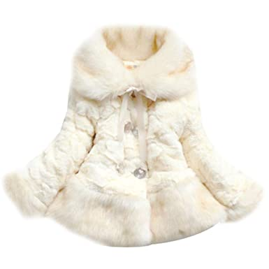 995a2649f Amazon.com  Happy childhood Baby Girls Princess Faux Fur Coat Thick ...
