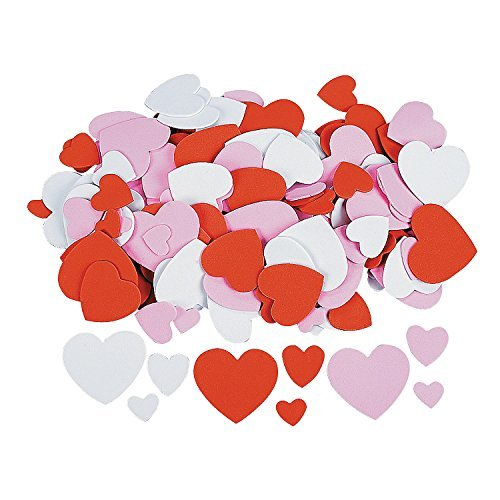 200 Foam Heart Shapes Craft Decorating Pack - Pink Red and White Assorted Styles