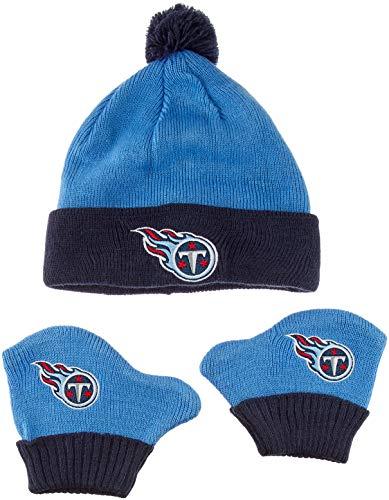 OTS NFL Tennessee Titans Pow Knit Cap & Mittens Set, Periwinkle, Infant