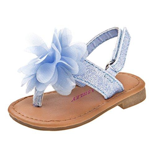 Laura Ashley Girls Glitter Sandal With Flower, Blue, 6 M US Toddler'