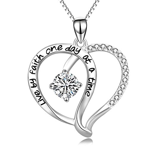 - Angel caller Faith Hope Necklace Sterling Silver Infinity Love Heart Necklace for Women Girls, 18