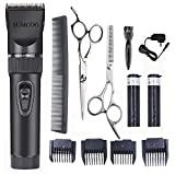 SUMCOO Hair Clippers, Low Noise Professional Cordless Kids Grooming Clippers And Hair Trimmer for Man and Baby 2 Rechargeable Batteries, 4 Combs (Black)