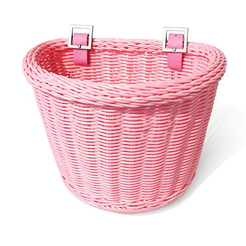 Colorbasket 02171 Front Handle Bar Junior Bike Basket, Water Resistant, Leather Straps, - Bicycle Girl Basket