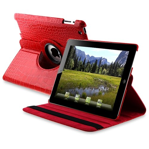 Leather 360 Degree Swivel Case compatible with Apple/iPad 2-Red Crocodile Skin Pattern