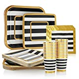 Black and Gold Party Supplies - 24 Pack - 9 Inch