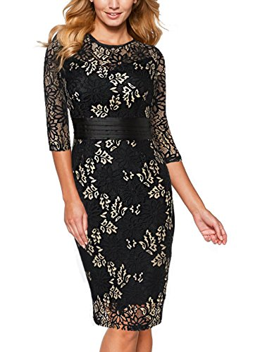 3675cee0e8a8 EvelynNY Women's Vintage Half Sleeve Floral Lace Party OL Pleated Casual  Dress
