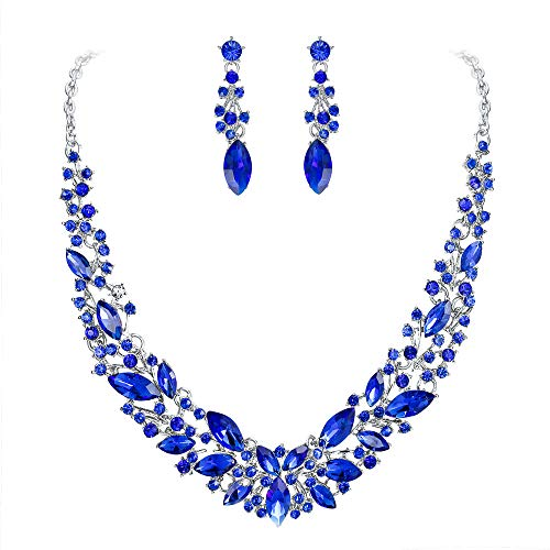 BriLove Wedding Bridal Necklace Earrings Jewelry Set for Women Austrian Crystal Marquise Cluster Collar Necklace Dangle Earrings Set Royal Blue Sapphire Color -