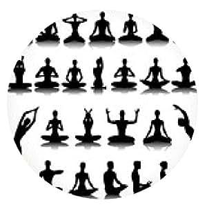 alfombrilla de ratón Conjunto de siluetas de yoga - ronda - 20cm
