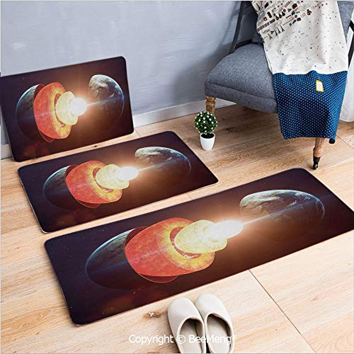 3 Piece Anti-Skid mat for Bathroom Rug Dining Room Home Bedroom,Earth,Core of The Earth Structure Burning Magma Geomagnetic Tectonic Split Decorative,Orange Light Yellow Indigo,16x24/18x53/20x59 ()