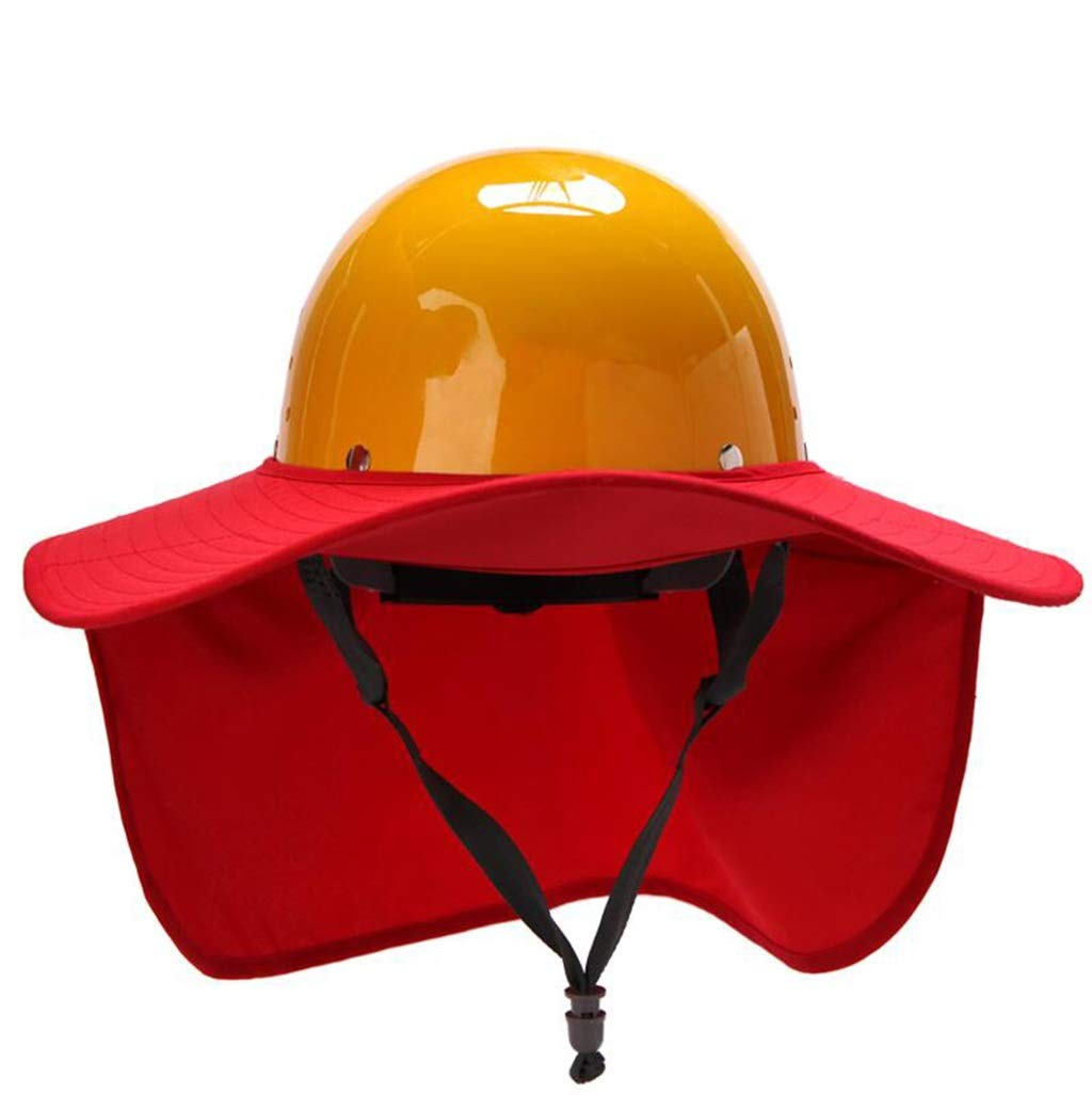 AQWWHY Safety Helmets Construction Worker Protection Cap with Lightweight Hard Hat Foldable Sun Shade Large Round Brim Cape for Outdoor Worker (Color : Red)