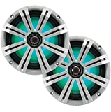 Kicker KM8 8-INCH (200mm) Marine Coaxial Speakerswith 1'' tweeters,LED Charcoal and White Grilles,4-OHM