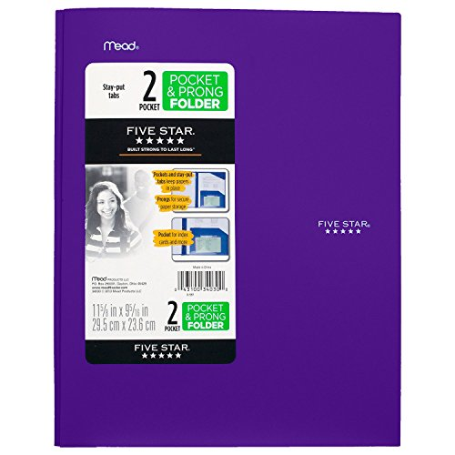"""043100340300 - Five Star Pocket Folder, 2 Pocket Stay-Put Plastic Folder, 11-5/8"""" x 9-5/16"""", Color Selected For You May Vary (34030) carousel main 3"""