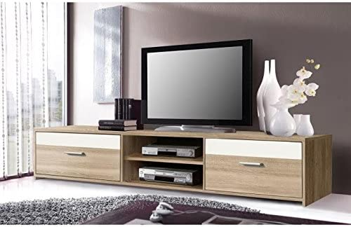 Meuble Décor Finlandek Chene Katso Sonoma Brillant Tv 160cm Blanc Et nOPXZ8wN0k