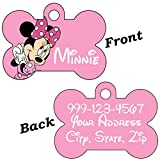 uDesignUSA Disney Double Sided Pet Id Tags for Dogs & Cats Personalized for Your Pet (Minnie Mouse, Bone Shaped)