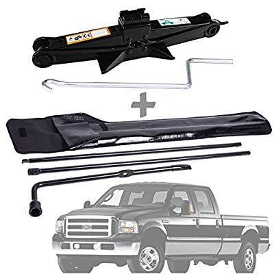 Wheel Lug Wrench and Scissor Jack 2 Ton Set Spare Tyre Nut Handle Repair Tool Kit with Carrying Bag For Ford F250 F350 F450 F550 / Super Duty 2003 2004 2005 2006 2007