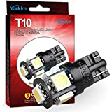 194 LED Light bulb, Yorkim 2015 Newest, 5th Generation, Interior Lights for W5W 194 168 2825 T10 Wedge 5-smd 5050, Replacement and Reverse T10 White Bulbs (Pack of 10)- White