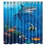 Fish Shower Curtain KXMDXA Sea Life Swimming Shark Art Sea Fish Cute Sea Animal Waterproof Polyester Bath Shower Curtain Size 66x72 inch