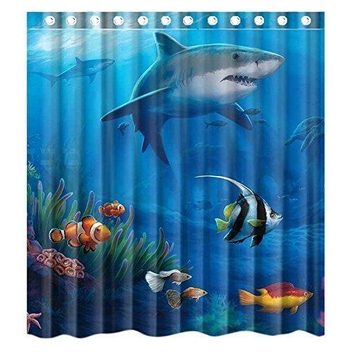 Custom Under Sea Fish Sharks Waterproof Bathroom Shower Curtain Polyester Fabric Shower Curtain Size 66 X 72 (Shower Shark Hooks Curtain)
