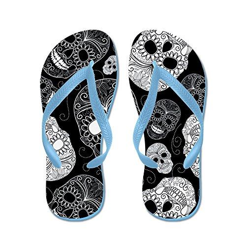 Cafepress Witte Suikerschedels - Flip Flops, Grappige String Sandalen, Strand Sandalen Caribbean Blue