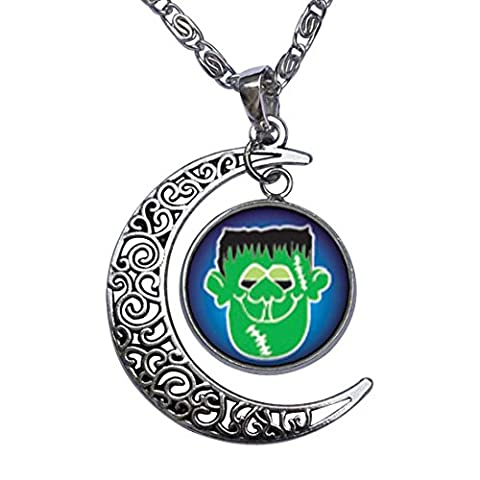 GiftJewelryShop Green Face Frankenstein Crescent Moon Galactic Universe Glass Cabochon Pendant (Frankenstein Cabochon)