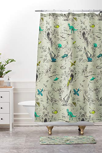 Depart-Lily Adventure Toile Shower Curtain Set Bathroom Mat Set 60x72in Waterproof Fabric Bathroom Curtain with 23.6x15.7in Non-Slip Floor Doormat Bath Rugs
