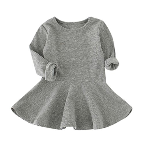 - Baby Girls Candy Solid Color Casual Long Sleeve Princess Dress (5T, Gray)