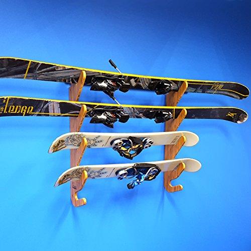 Grassracks Bamboo Ski Storage Rack for 3 or 4 Pairs of Skis Hallsteiner Quad