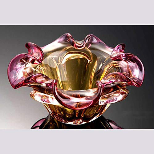 Huasen Home Ashtray Ashtray Red and Yellow Living Room Creative Fashion Personality Crystal Glass Petals Hand Blown Office Ashtray by Huasen (Image #2)
