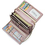 Women RFID Leather Trifold Wallet Cossbody Purse Clutch with Chain Strap (Rose Gold)
