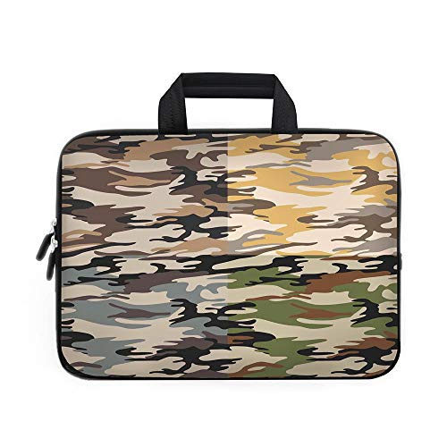 Camo Laptop Carrying Bag Sleeve,Neoprene Sleeve Case/Camouflage Patterns in Four Going Undercover Militaristic Combination/for Apple MacBook Air Samsung Google Acer HP DELL Lenovo ASU