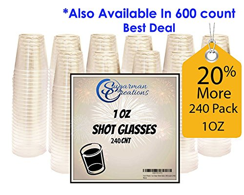 Sugarman Creations Clear Plastic Disposable Shot Glasses, Heavy Duty Restaurant Grade, 1 Ounce - (240-Pieces) SUMMER SALE! -