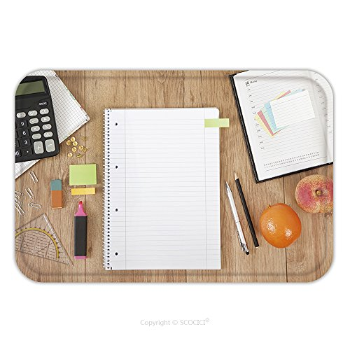 Flannel Microfiber Non-slip Rubber Backing Soft Absorbent Doormat Mat Rug Carpet A Calendar And A Notepad Lying On A Desk With Pencils And Calculator …