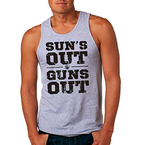 Men's Sun's Out Guns Out Sport Gray Tank Top (Large) (Suns Out Guns Out Shirt Tank Top)