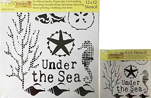 The Crafter's Workshop Set of 2 Nautical Stencils – Under The Sea 12x12 Large and 6x6 inch Mini - Includes 1 each TCW709 and TCW709s - Bundle 2 Items by The Crafter's Workshop