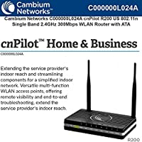 Cambium Networks - C000000L024A - cnPilot Home & Business R200 802.11n 300 Mbps Wi-Fi WLAN Router with Analog Telephone Adapter (ATA) VoIP Gateway, 4 port Network Switch and 2 phone ports, US