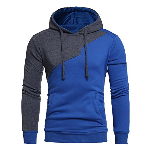 Zackate Mens Patchwork Slim Fit Hooded Sweatshirts Casual Pullover Sweater Drawstring Tracksuit Blue (Best Running Back In College Football 2019)