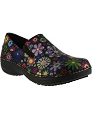 Spring Step Womens Manila,Black Flowerpower Printed Leather,US 10 W