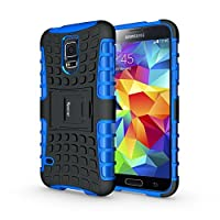 S5 for Galaxy Case,Heavy Duty Rugged Dual Layer Shockproof Hybrid Case For Samsung Galaxy S5 SV I9600 with Built-in Kickstand (Blue)