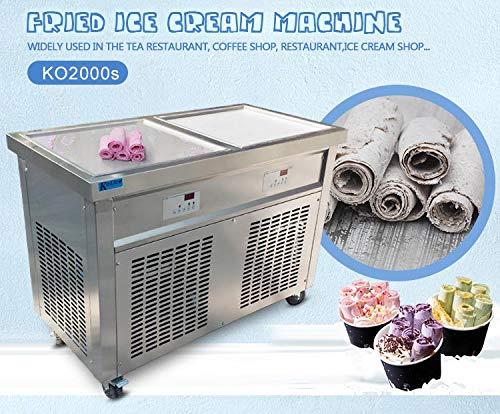 Free shipment to door 50*50cm double square ice pans gelato fried ice cream machine yogurt thai stir roll ice cream machine instant stir fry ice cream roll machine with auto defrost,full refrigerant