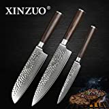 XINZUO 3PC Damascus Kitchen Knife Set Chef Knife Slicing Hammered Forging Damascus Kitchen Knife Very Sharp Gyutou Knife Professional Chef's Knife Cultery Santoku Knife with Pakka Wood Handle