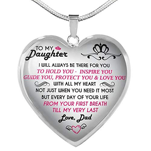 Vuvuzi Tee to My Daughter Love Dad - Father and Daughter Necklace Heart Gift from Daddy