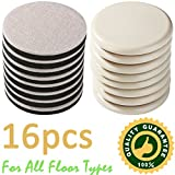 16 Pack Reusable Furniture Sliders For All Floor Types,8...