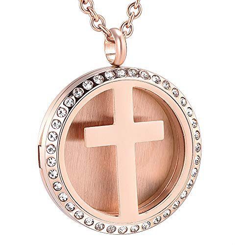 Crystal Inlay 30mm Round Cross Aromatherapy Pendant Essential Oil Diffuse Necklace (Rose Gold)
