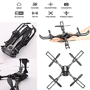 FSTgo RC Drone Foldable Remote Control FPV VR Wifi Quadcopter 2.4GHz 6-Axis Gyro 4CH Helicopter with Camera Aircraft Video Time Transmission RTF from FSTgo