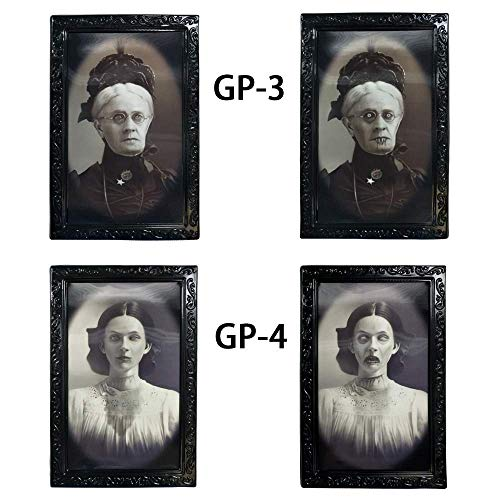 Longess Face Changing Scary Decorative Frame 3D Horror Portrait for School Classroom Halloween(2 Pcs)