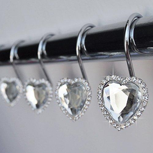 Shower Curtain Hooks Rings - Heart Clear Decorative Crystal Diamond Bling Rhinestones Bathroom Bath Set Gift Valentine Girl (Clear)