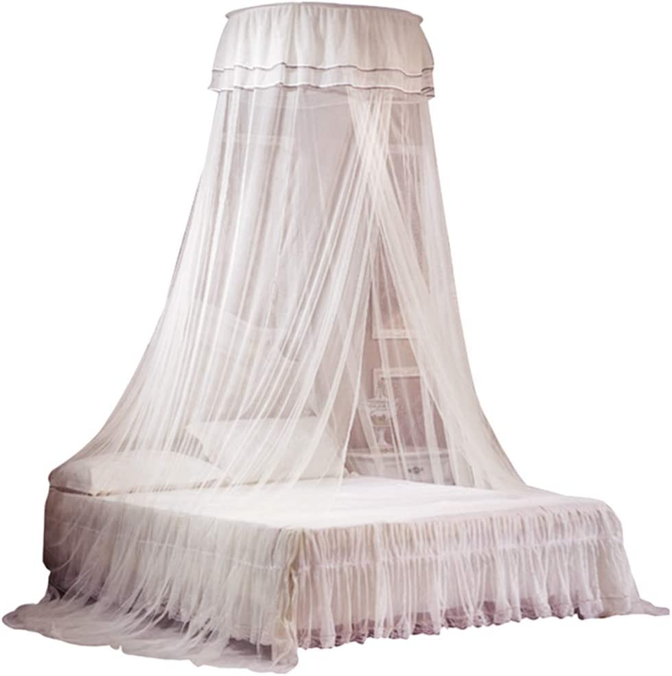 Petforu Mosquito Net Dome, Princess Bed Canopies Netting Elegant Lace with 2 Butterflies for Decor - White