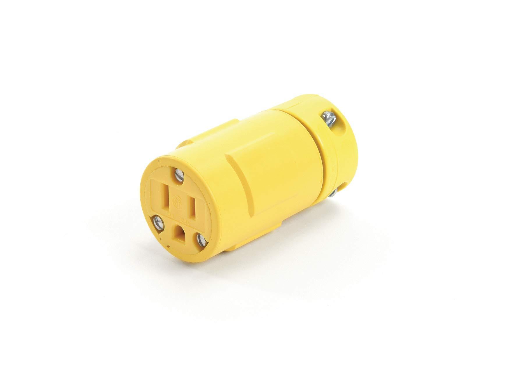 Woodhead 1547 Super-Safeway Connector, 2 Poles, 3 Wires, NEMA 5-15 Configuration, Yellow, 15A Current, 125V Voltage