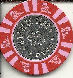 ($5 harolds club reno nevada casino chip vintage obsolete)